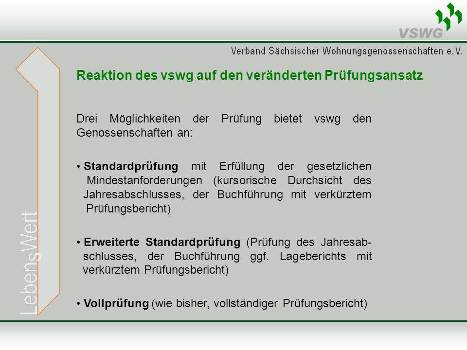 Reaktion des vswg auf den veränderten Prüfungsansatz Drei Möglichkeiten der Prüfung bietet vswg den Genossenschaften an: Standardprüfung mit Erfüllung