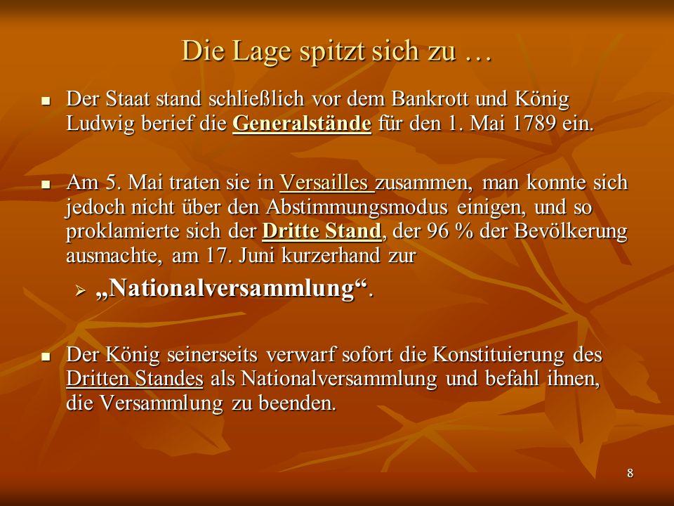 8 Die Lage spitzt sich zu … Der Staat stand schließlich vor dem Bankrott und König Ludwig berief die Generalstände für den 1.