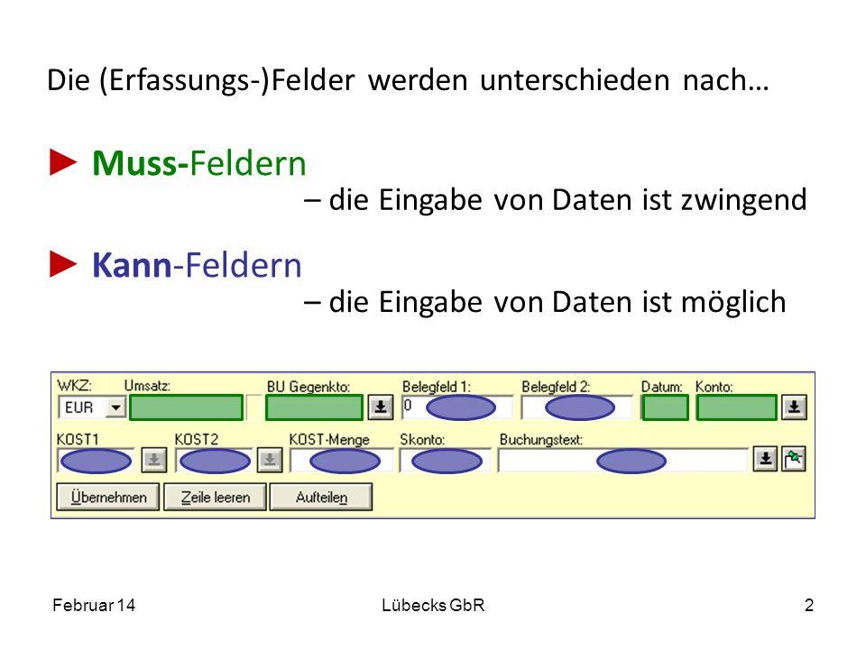 Die (Erfassungs-)Felder werden unterschieden nach… Muss-Feldern Kann-Feldern Februar 14Lübecks GbR2 – die Eingabe von Daten ist zwingend – die Eingabe