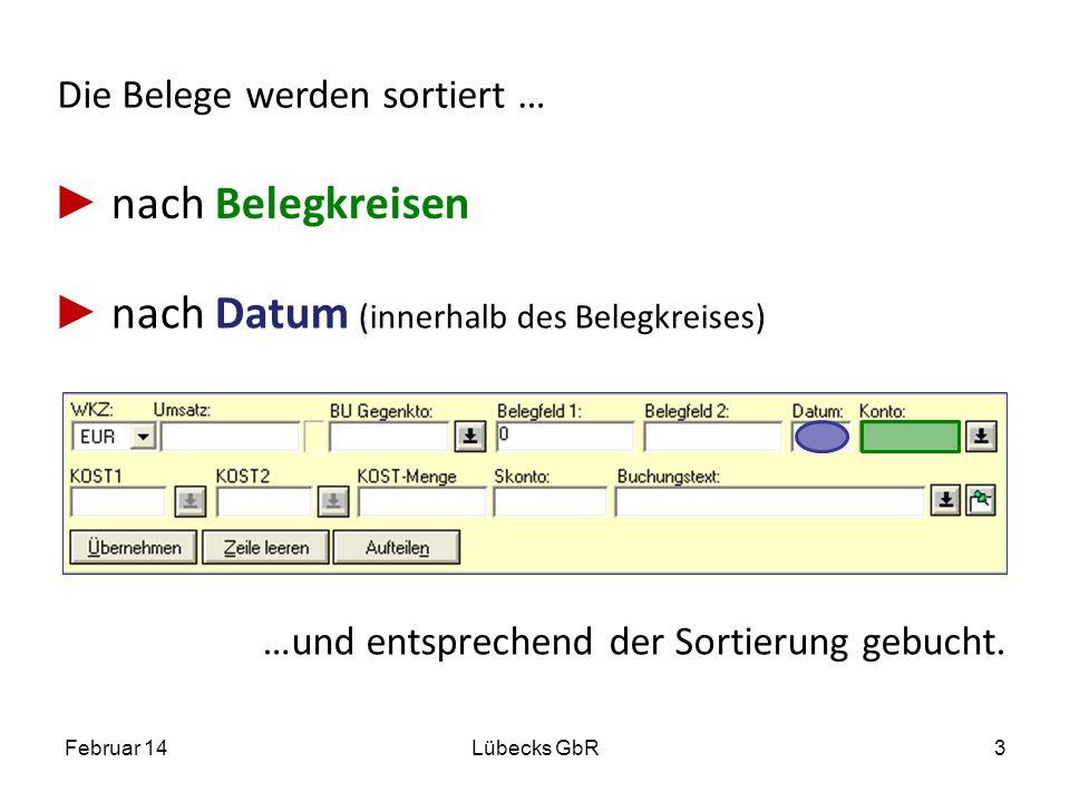 Die Belege werden sortiert … nach Datum (innerhalb des Belegkreises) Februar 14Lübecks GbR3 …und entsprechend der Sortierung gebucht. nach Belegkreise