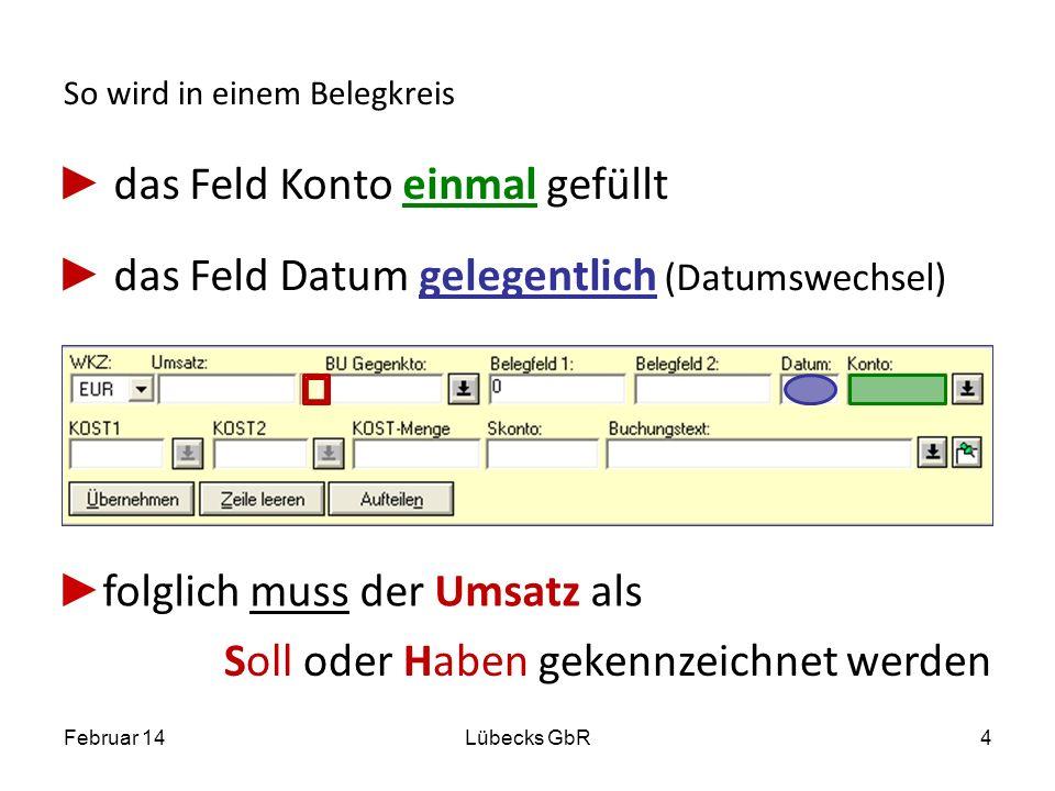 So wird in einem Belegkreis das Feld Konto einmal gefüllt das Feld Datum gelegentlich (Datumswechsel) Februar 14Lübecks GbR4 folglich muss der Umsatz