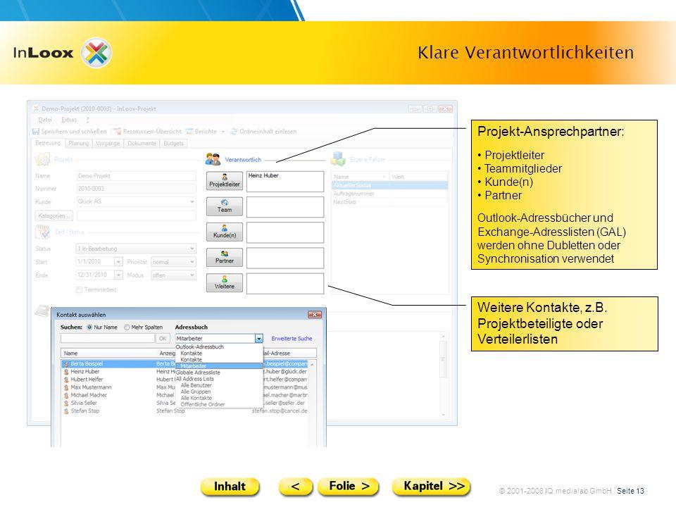 © 2001-2008 IQ medialab GmbH Seite 13 Klare Verantwortlichkeiten Weitere Kontakte, z.B. Projektbeteiligte oder Verteilerlisten Projekt-Ansprechpartner