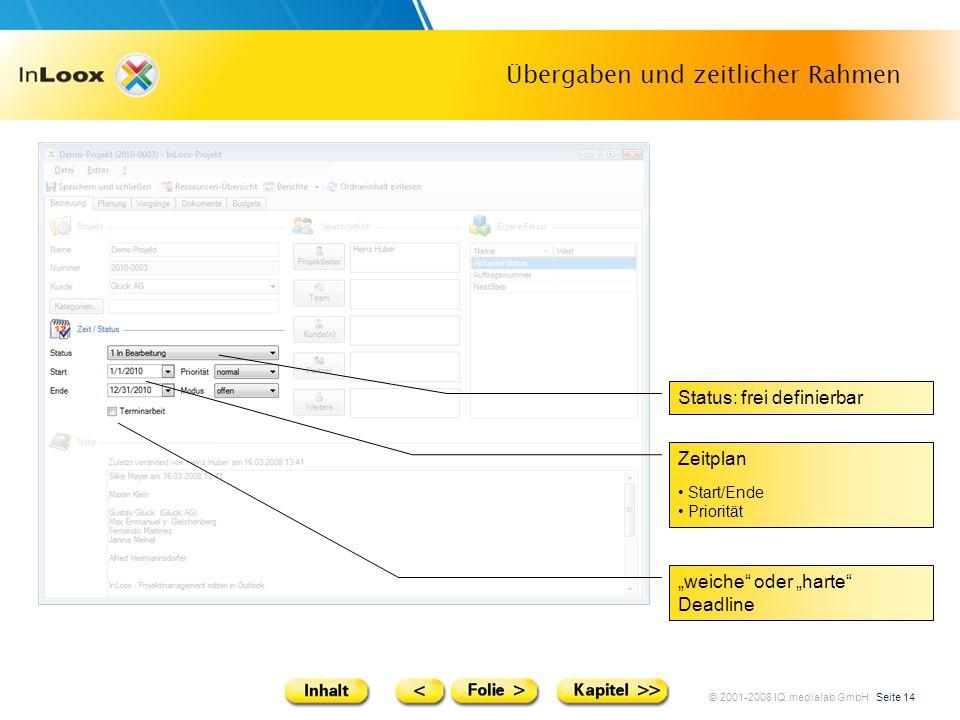 © 2001-2008 IQ medialab GmbH Seite 14 Übergaben und zeitlicher Rahmen weiche oder harte Deadline Status: frei definierbar Zeitplan Start/Ende Prioritä