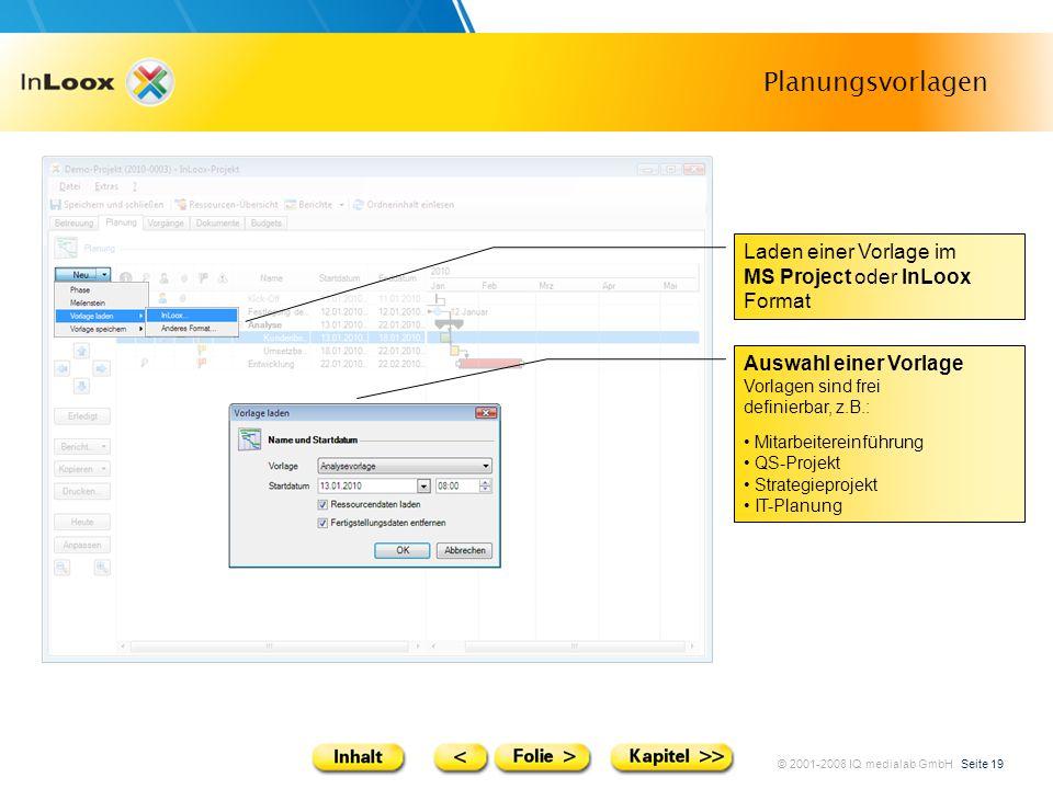 © 2001-2008 IQ medialab GmbH Seite 19 Planungsvorlagen Auswahl einer Vorlage Vorlagen sind frei definierbar, z.B.: Mitarbeitereinführung QS-Projekt St