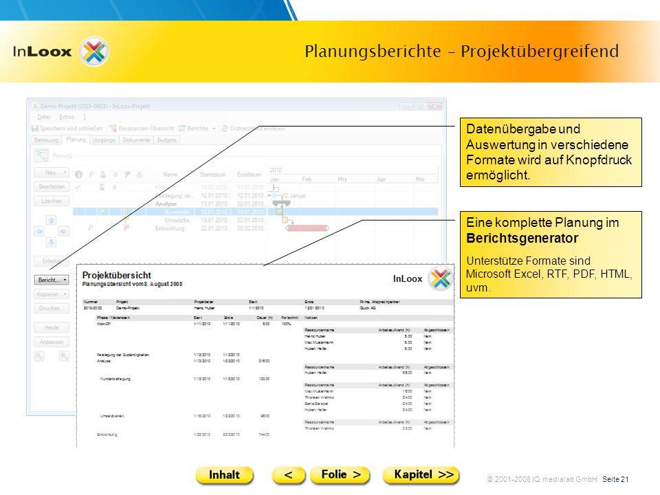 © 2001-2008 IQ medialab GmbH Seite 21 Planungsberichte – Projektübergreifend Datenübergabe und Auswertung in verschiedene Formate wird auf Knopfdruck