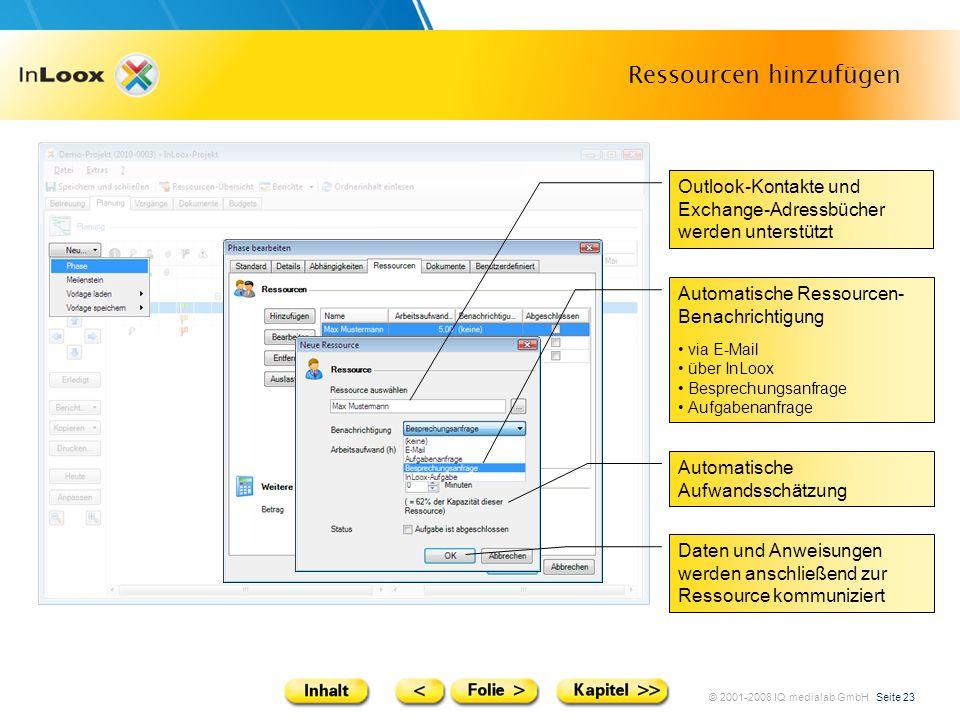 © 2001-2008 IQ medialab GmbH Seite 23 Ressourcen hinzufügen Outlook-Kontakte und Exchange-Adressbücher werden unterstützt Automatische Aufwandsschätzu