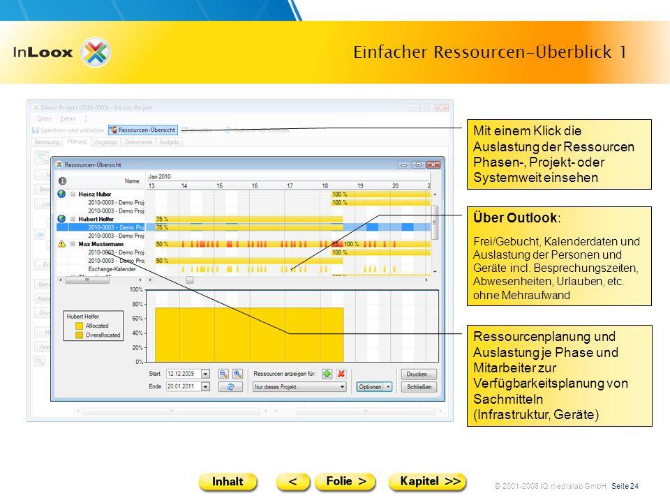 © 2001-2008 IQ medialab GmbH Seite 24 Einfacher Ressourcen-Überblick 1 Mit einem Klick die Auslastung der Ressourcen Phasen-, Projekt- oder Systemweit