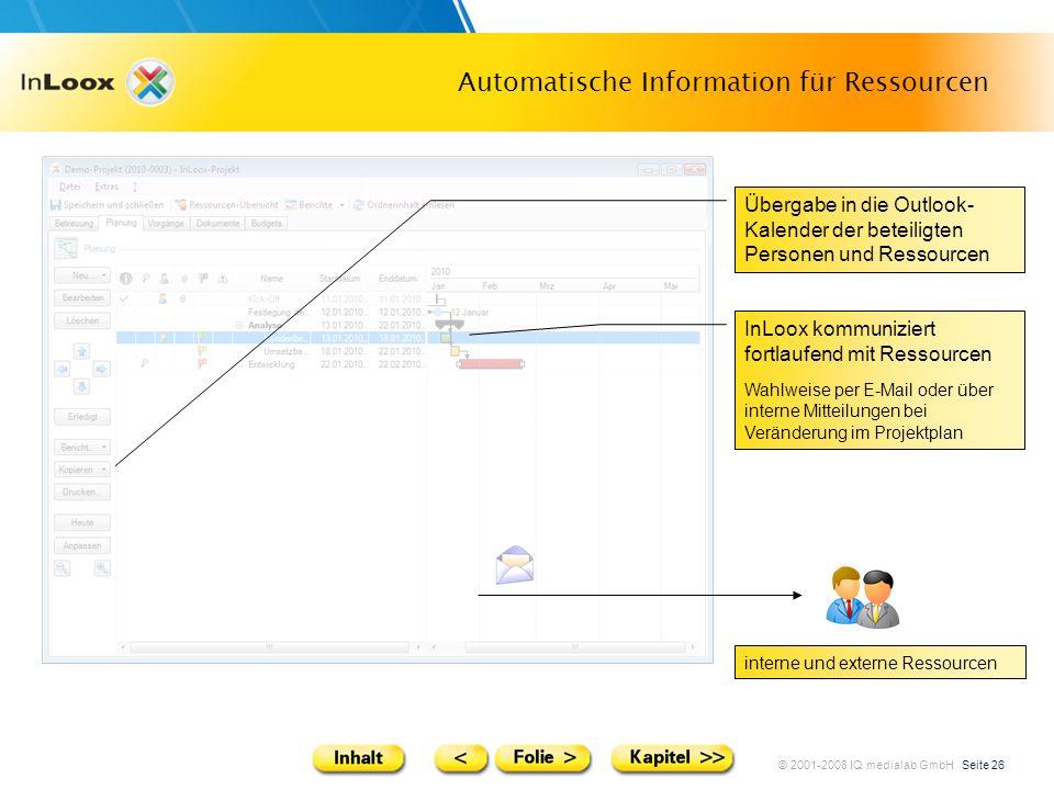 © 2001-2008 IQ medialab GmbH Seite 26 Automatische Information für Ressourcen Übergabe in die Outlook- Kalender der beteiligten Personen und Ressource