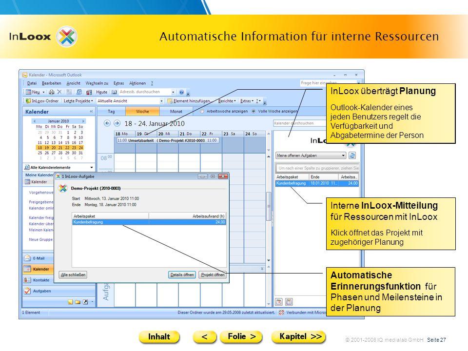 © 2001-2008 IQ medialab GmbH Seite 27 Automatische Information für interne Ressourcen Interne InLoox-Mitteilung für Ressourcen mit InLoox Klick öffnet