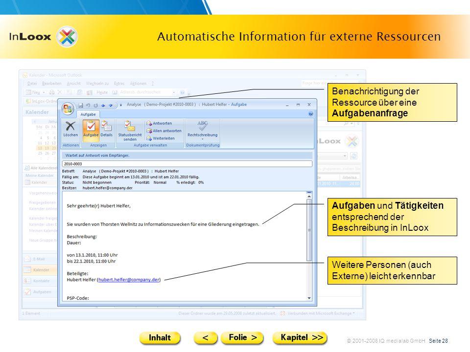 © 2001-2008 IQ medialab GmbH Seite 28 Automatische Information für externe Ressourcen Aufgaben und Tätigkeiten entsprechend der Beschreibung in InLoox