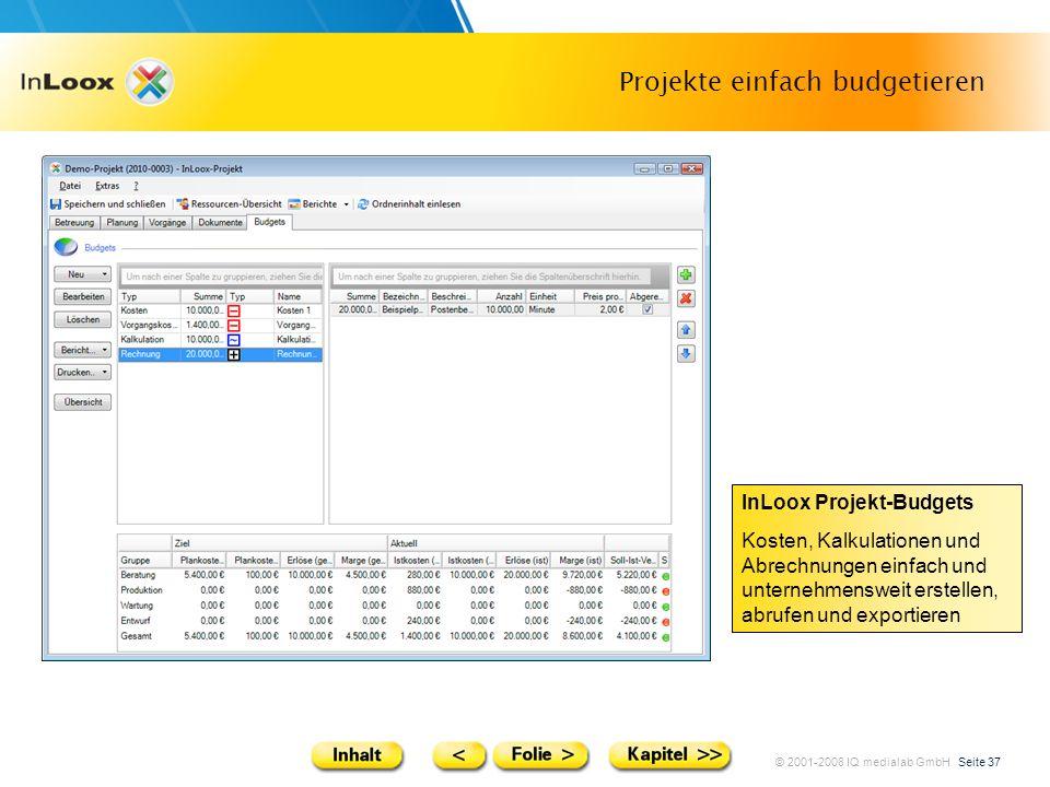 © 2001-2008 IQ medialab GmbH Seite 37 Projekte einfach budgetieren InLoox Projekt-Budgets Kosten, Kalkulationen und Abrechnungen einfach und unternehm