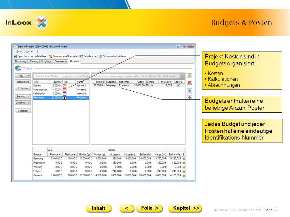 © 2001-2008 IQ medialab GmbH Seite 38 Budgets & Posten Projekt-Kosten sind in Budgets organisiert: Kosten Kalkulationen Abrechnungen Budgets enthalten
