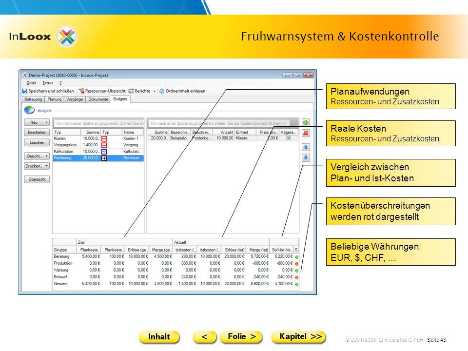 © 2001-2008 IQ medialab GmbH Seite 43 Frühwarnsystem & Kostenkontrolle Planaufwendungen Ressourcen- und Zusatzkosten Reale Kosten Ressourcen- und Zusa