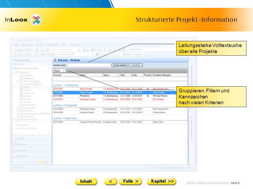 © 2001-2008 IQ medialab GmbH Seite 8 Strukturierte Projekt-Information Leitungsstarke Volltextsuche über alle Projekte Gruppieren, Filtern und Kennzei