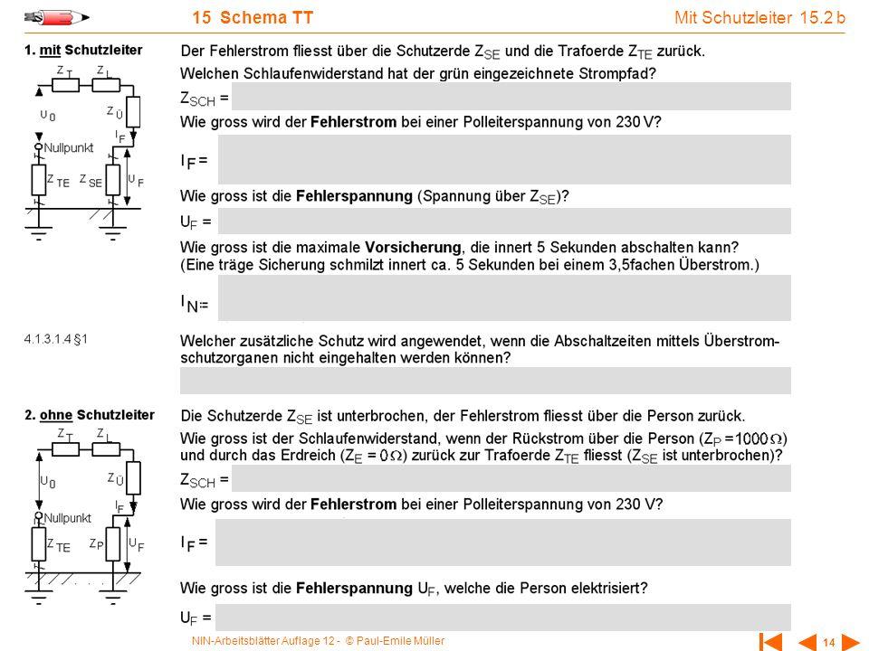 NIN-Arbeitsblätter Auflage 12 - © Paul-Emile Müller 14 15 Schema TT Mit Schutzleiter 15.2 b