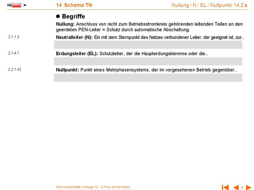 NIN-Arbeitsblätter Auflage 12 - © Paul-Emile Müller 4 14 Schema TN Nullung / N / EL / Nullpunkt 14.2 a