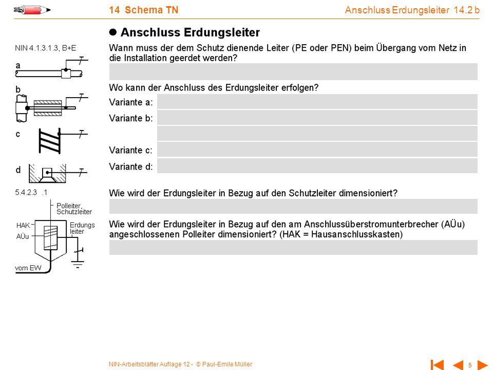 NIN-Arbeitsblätter Auflage 12 - © Paul-Emile Müller 5 14 Schema TN Anschluss Erdungsleiter 14.2 b