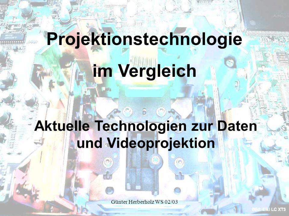 Günter Herberholz WS 02/03 Auswahlkriterien für den Projektoreinsatz Auflösung Kontrast Helligkeit Gewicht Handling Farbwiedergabe Grundsätzliche prinzipbedingte Bildqualität