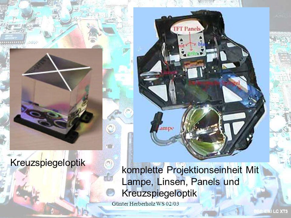 Günter Herberholz WS 02/03 Kreuzspiegeloptik komplette Projektionseinheit Mit Lampe, Linsen, Panels und Kreuzspiegeloptik