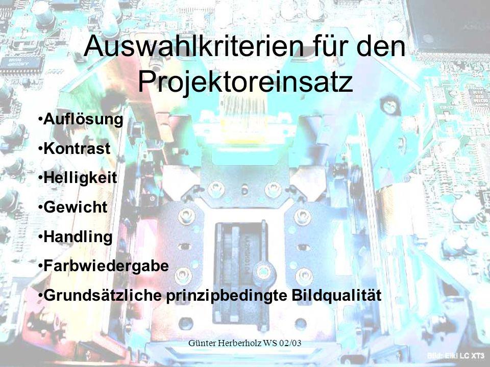 Günter Herberholz WS 02/03 Nachteile von Laser Projektoren Sehr hohe Produktionskosten Der Laserstrahlerzeuger sollte nach etwa 10.000 Stunden erneuert werden.