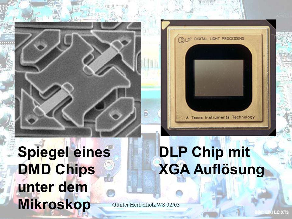 Günter Herberholz WS 02/03 DLP Chip mit XGA Auflösung Spiegel eines DMD Chips unter dem Mikroskop