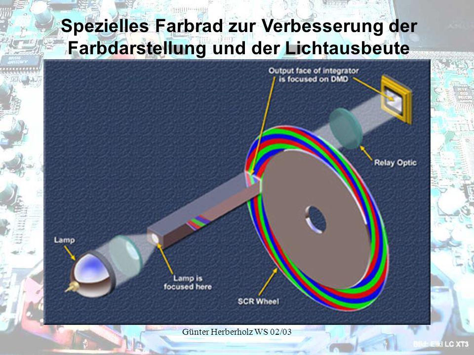 Günter Herberholz WS 02/03 Spezielles Farbrad zur Verbesserung der Farbdarstellung und der Lichtausbeute