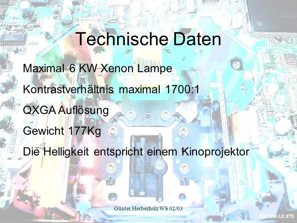Günter Herberholz WS 02/03 Technische Daten Maximal 6 KW Xenon Lampe Kontrastverhältnis maximal 1700:1 QXGA Auflösung Gewicht 177Kg Die Helligkeit entspricht einem Kinoprojektor