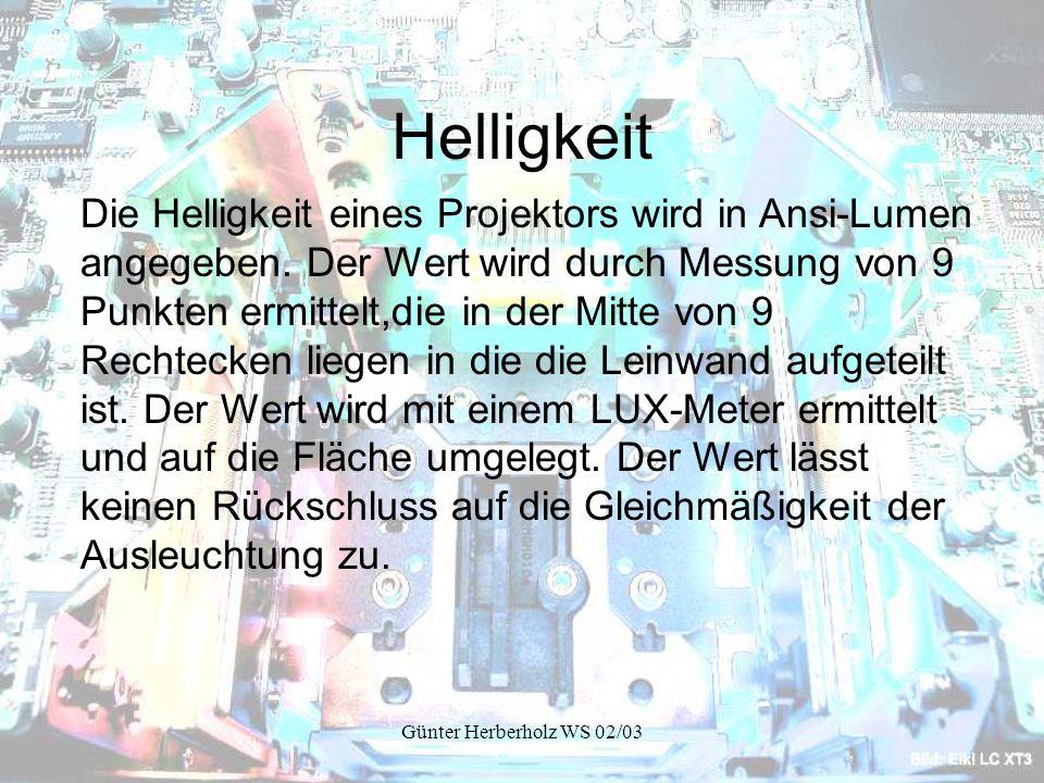 Günter Herberholz WS 02/03 Helligkeit Die Helligkeit eines Projektors wird in Ansi-Lumen angegeben.