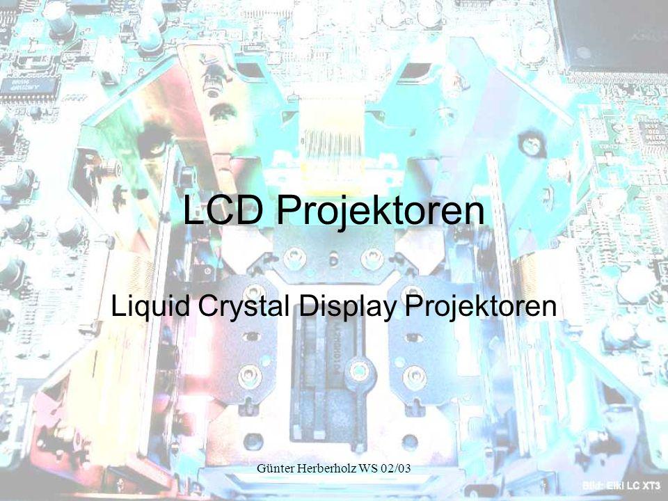 Günter Herberholz WS 02/03 Aufbau eines 1Chip D-ILA Projektors Farbdotierung des Chips, um mit einem Chip alle 3 Farben zu projizieren.