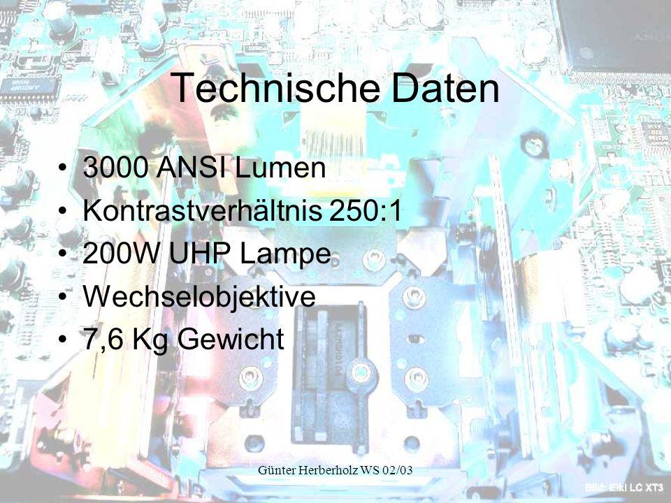 Günter Herberholz WS 02/03 Technische Daten 3000 ANSI Lumen Kontrastverhältnis 250:1 200W UHP Lampe Wechselobjektive 7,6 Kg Gewicht