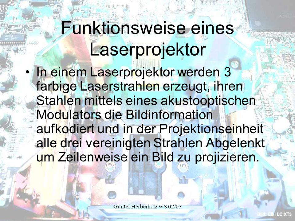 Günter Herberholz WS 02/03 Funktionsweise eines Laserprojektor In einem Laserprojektor werden 3 farbige Laserstrahlen erzeugt, ihren Stahlen mittels eines akustooptischen Modulators die Bildinformation aufkodiert und in der Projektionseinheit alle drei vereinigten Strahlen Abgelenkt um Zeilenweise ein Bild zu projizieren.
