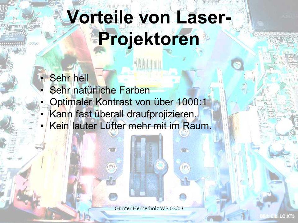 Günter Herberholz WS 02/03 Vorteile von Laser- Projektoren Sehr hell Sehr natürliche Farben Optimaler Kontrast von über 1000:1 Kann fast überall draufprojizieren.