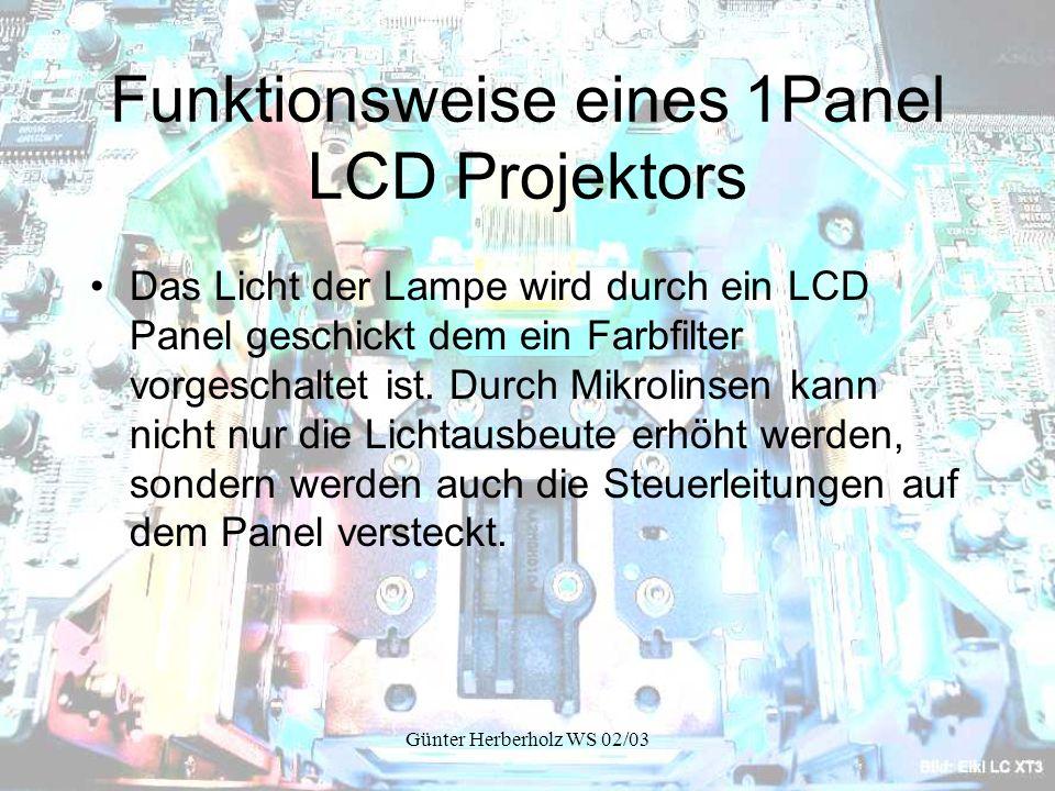 Günter Herberholz WS 02/03 Funktionsweise eines 1Panel LCD Projektors Das Licht der Lampe wird durch ein LCD Panel geschickt dem ein Farbfilter vorgeschaltet ist.