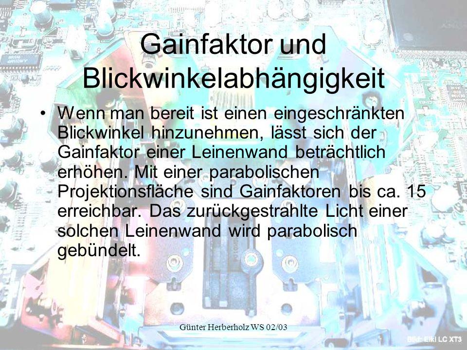 Günter Herberholz WS 02/03 Gainfaktor und Blickwinkelabhängigkeit Wenn man bereit ist einen eingeschränkten Blickwinkel hinzunehmen, lässt sich der Gainfaktor einer Leinenwand beträchtlich erhöhen.