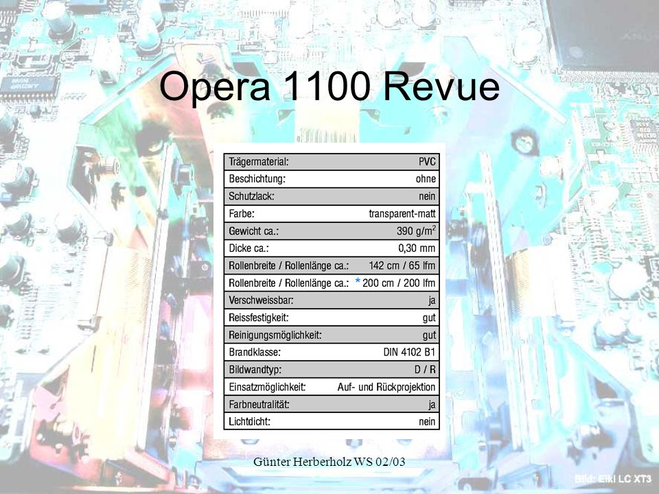 Günter Herberholz WS 02/03 Opera 1100 Revue