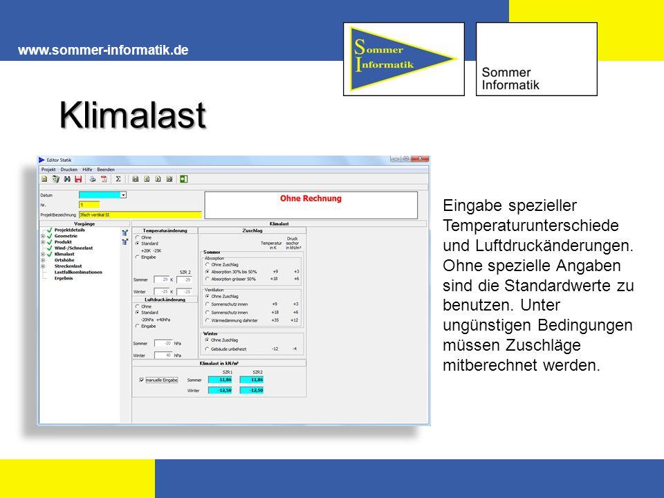 www.sommer-informatik.de Klimalast Eingabe spezieller Temperaturunterschiede und Luftdruckänderungen.