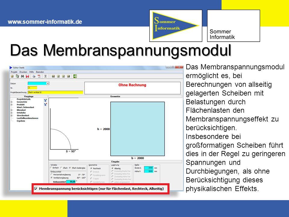 www.sommer-informatik.de Das Membranspannungsmodul Das Membranspannungsmodul ermöglicht es, bei Berechnungen von allseitig gelagerten Scheiben mit Belastungen durch Flächenlasten den Membranspannungseffekt zu berücksichtigen.