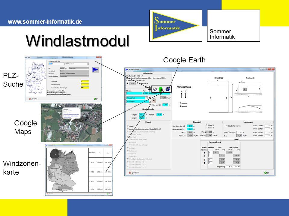 www.sommer-informatik.de Windlastmodul PLZ- Suche Google Maps Windzonen- karte Google Earth