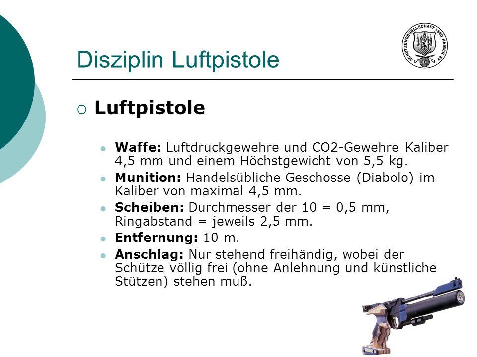 Disziplin Luftpistole Luftpistole Waffe: Luftdruckgewehre und CO2-Gewehre Kaliber 4,5 mm und einem Höchstgewicht von 5,5 kg. Munition: Handelsübliche