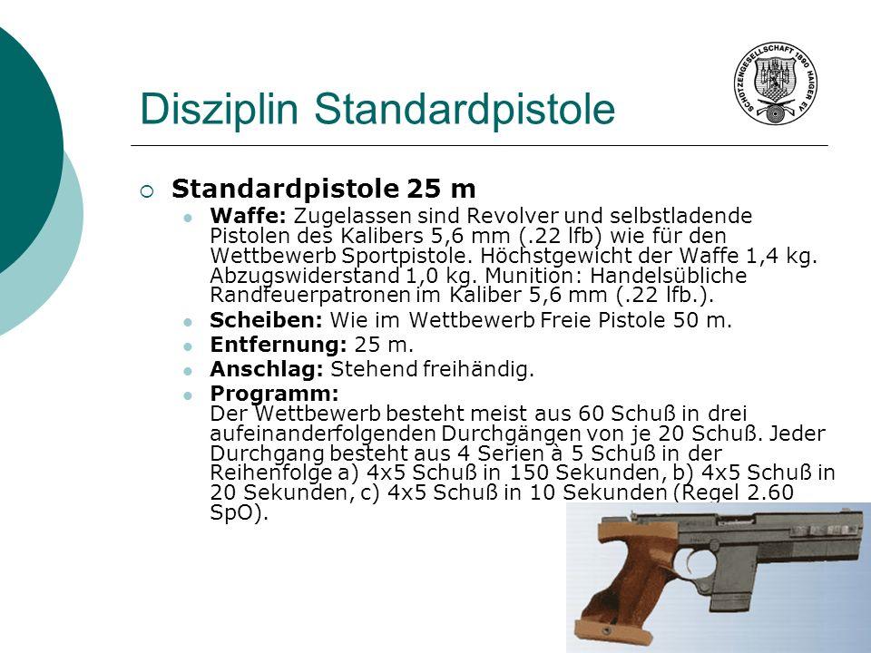 Disziplin Standardpistole Standardpistole 25 m Waffe: Zugelassen sind Revolver und selbstladende Pistolen des Kalibers 5,6 mm (.22 lfb) wie für den We