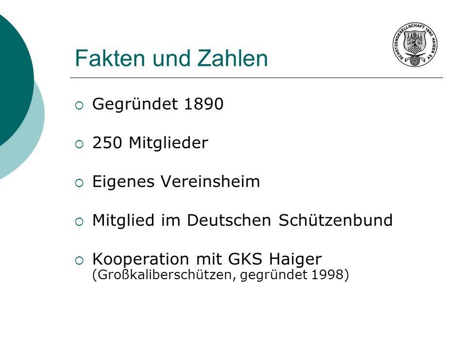Fakten und Zahlen Gegründet 1890 250 Mitglieder Eigenes Vereinsheim Mitglied im Deutschen Schützenbund Kooperation mit GKS Haiger (Großkaliberschützen