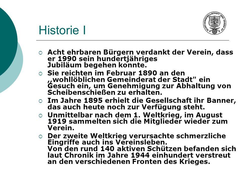 Historie I Acht ehrbaren Bürgern verdankt der Verein, dass er 1990 sein hundertjähriges Jubiläum begehen konnte. Sie reichten im Februar 1890 an den,,