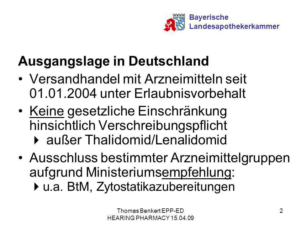 Thomas Benkert EPP-ED HEARING PHARMACY 15.04.09 2 Ausgangslage in Deutschland Versandhandel mit Arzneimitteln seit 01.01.2004 unter Erlaubnisvorbehalt