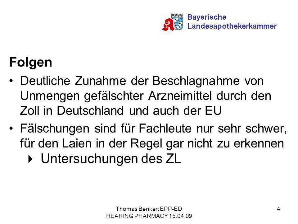 Thomas Benkert EPP-ED HEARING PHARMACY 15.04.09 4 Folgen Deutliche Zunahme der Beschlagnahme von Unmengen gefälschter Arzneimittel durch den Zoll in D