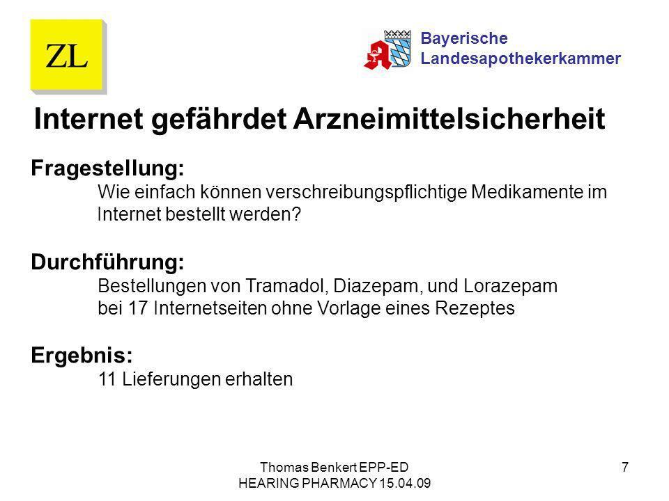 Thomas Benkert EPP-ED HEARING PHARMACY 15.04.09 7 Fragestellung: Wie einfach können verschreibungspflichtige Medikamente im Internet bestellt werden?