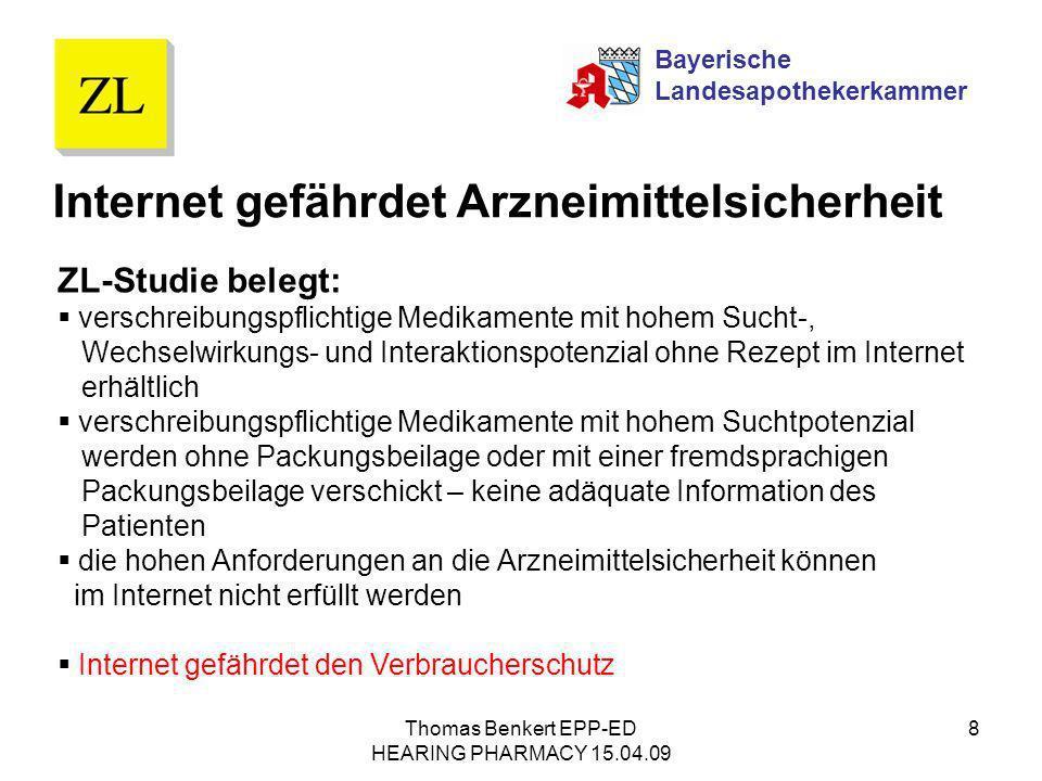 Thomas Benkert EPP-ED HEARING PHARMACY 15.04.09 8 Internet gefährdet Arzneimittelsicherheit ZL-Studie belegt: verschreibungspflichtige Medikamente mit