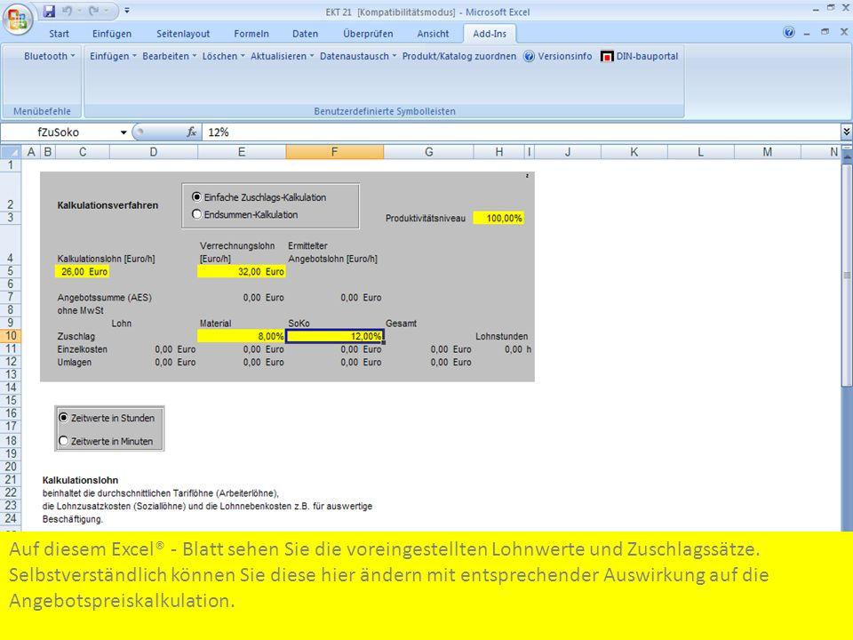 Auf diesem Excel® - Blatt sehen Sie die voreingestellten Lohnwerte und Zuschlagssätze. Selbstverständlich können Sie diese hier ändern mit entsprechen