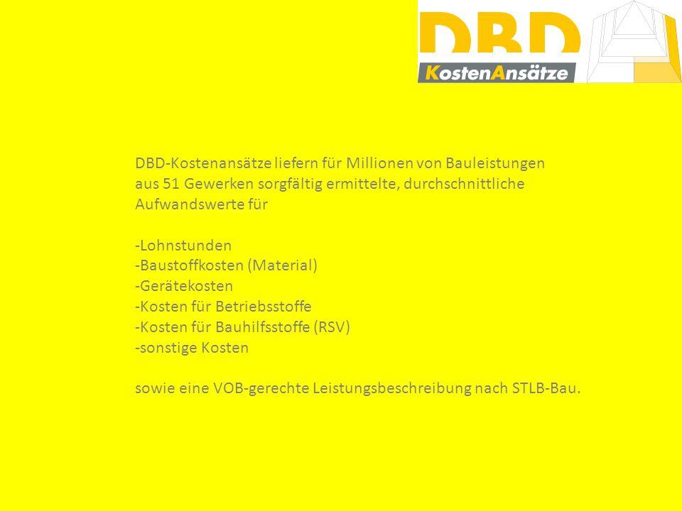 Branchenprogramm mit Schnittstelle für DBD oder DBD-Kalkulationsvorlage für Excel ® Orientierungswerte für den Herstellaufwand sowie Leistungsbeschreibung evtl.