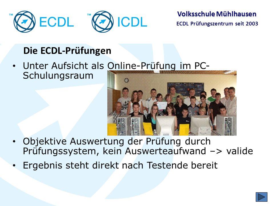 Volksschule Mühlhausen ECDL Prüfungszentrum seit 2003 Hersteller- und produktunabhängig Windows – MS Office OS X – Mac Office Linux und StarOffice und OpenOffice Firefox und Thunderbird