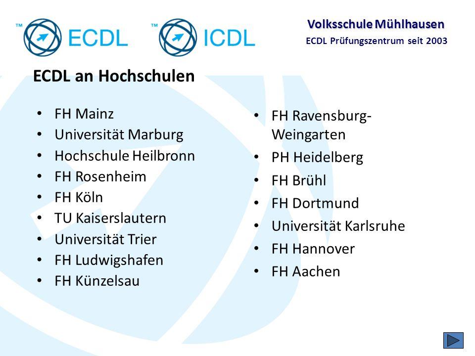 Volksschule Mühlhausen ECDL Prüfungszentrum seit 2003 Was kostet der ECDL?